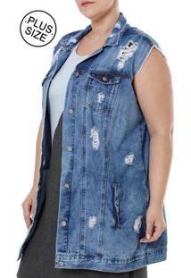 Colete Jeans Plus Size Feminino Azul