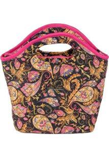 Bolsa Ana Viegas Handbag Tecido Mão Forro Impermeável Prática Feminina - Feminino-Preto+Rosa