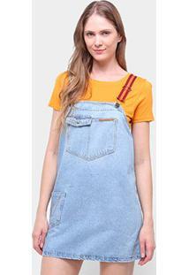 Vestido Jeans Cantão Jardineira Feminina - Feminino-Azul
