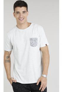Camiseta Masculina Com Bolso Estampado De Pássaros Manga Curta Gola Careca Cinza Mescla Claro