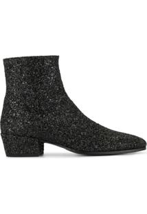 Saint Laurent Ankle Boot Com Brilho - Preto