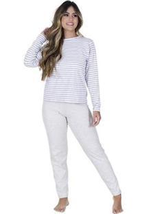 Pijama Longo Compras De Lingerie Algodão Listrado Feminino - Feminino-Branco