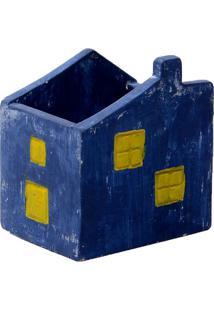 Floreira Casa- Azul & Amarela- 16,5X14,7X11,8Cmdecor Glass