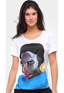 Camiseta Triton Estampada Feminina - Feminino-Off White