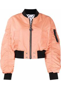 Diesel Jaqueta Bomber Cropped Franzida Dupla Face - Rosa
