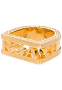 Versace Anel Com Logo - Dourado