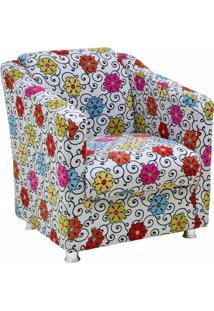 Poltrona Decorativa Laura Tecido Linho Floral - Lyam Decor