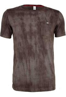 Camiseta Knt Marmorizada Slim - Masculino-Marrom