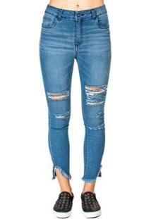 Calça Jeans Barra Assimétrica Handbook - Feminino-Azul
