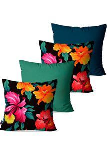 Kit Com 4 Capas Para Almofadas Decorativas Coloridas Floral 45X45Cm