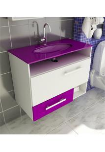 Gabinete Para Banheiro 80 Cm Com 2 Peças Linea 17 Branco E Violeta Tomdo