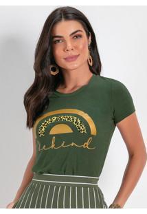 Blusa Verde Militar Com Estampa Metalizada