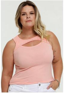 Blusa Feminina Canelada Vazada Plus Size Sem Manga
