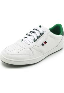 Tênis Couro Tommy Hilfiger Liso Branco