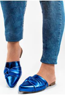 Sapatilha ,Mule Bico Fino Azul Metalico