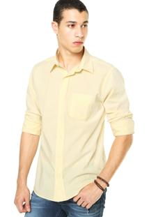Camisa Dafiti I.D. Listras Bolso Amarela