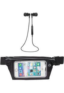 Kit Pochete Esportiva Fitness 5,5 + Fone De Ouvido Bluetooth 4.1 Microfone Embutido - Unissex-Preto