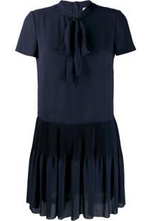 Redvalentino Vestido Mini Com Pregas - Azul