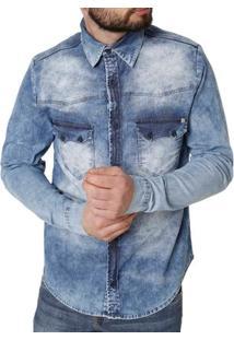 Camisa Jeans Manga Longa Masculino Bivik Azul