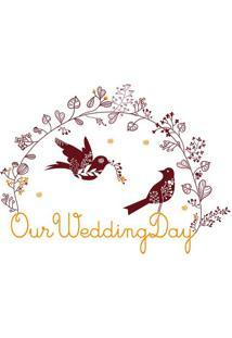 Adesivo De Parede Our Wedding Day- Marrom & Amarelo-Evolux