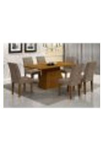 Conjunto De Mesa De Jantar Luna Com 6 Cadeiras Grécia Suede Animale Imbuia E Chocolate 180 Cm