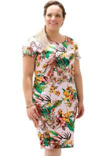 Vestido Recortes Pesponto Plus Size Verde