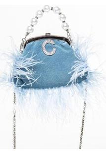 Bolsa Caos Plumas & Pérolas Metal C Feminina - Feminino-Azul Claro