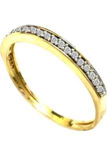 Anel Prata Mil De Ouro C/ Zircônia Ouro - Kanui