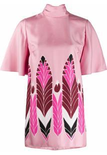 Valentino Blusa Mangas Curtas Com Estampa - Rosa
