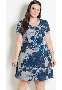 Vestido Com Gota Plus Size Floral
