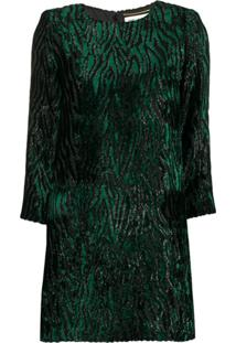 Saint Laurent Vestido Mini Com Animal Print - Verde