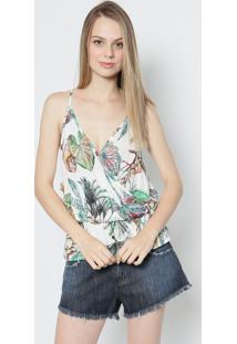 Blusa Floral Com Transpasse - Branca & Verde - Colcccolcci