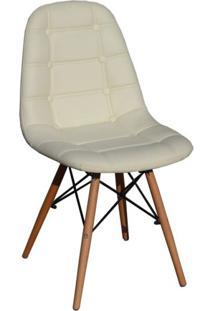 Cadeira Estofada Base Madeira Madri Siena Móveis Bege