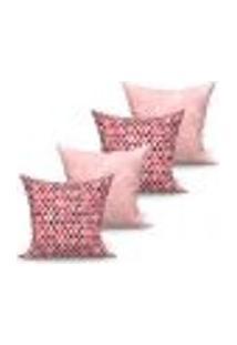 Conjunto De Capas Para Almofada Com 4 Peças Medalhão Triângulo Vermelho E Rosa 60X60 Cm