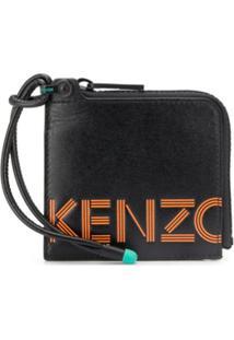 Kenzo Carteira Com Zíper E Estampa De Logo - Preto