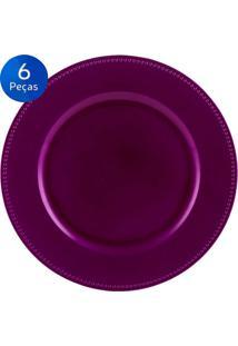 Jogo De 6 Sousplat Fucsia 33Cm Clean - Bon Gourmet - Pink