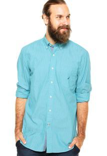 Camisa Nautica Listras Manga Longa Verde