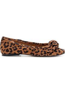 Sapatilha Couro Shoestock Onça Laço Bico Reto Feminina - Feminino