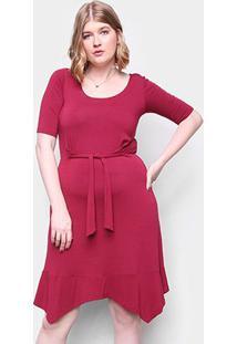 Vestido Naif Plus Size Curto Floral Amarração - Feminino-Marrom