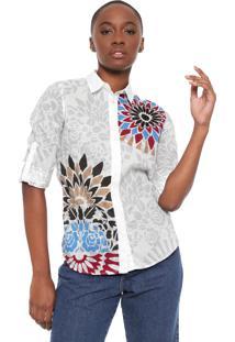 Camisa Desigual Selva Off-White/Cinza