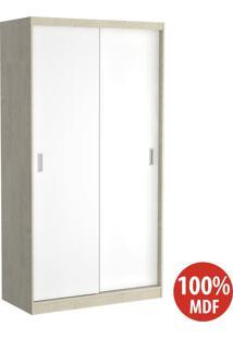 Guarda Roupa 2 Portas De Correr 100% Mdf 797 Marfim Areia/Branco - Foscarini