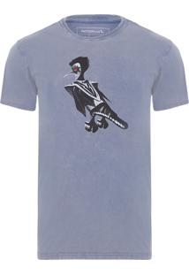 Camiseta Masculina Estampada Pica Kiss - Cinza