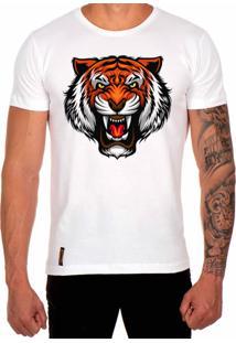 Camiseta Lucas Lunny T Shirt Estampada Tigre Branco