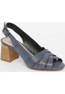 Sandália Em Couro- Azul Escuro & Marrom- Salto: 8,5Ccapodarte