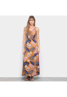 Vestido Longo Lily Fashion Tropical Costas Cruzadas - Feminino-Caramelo