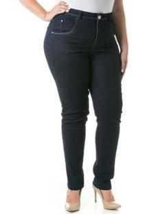Calça Jeans Feminina Confidencial Extra Cigarrete Acetinado Plus Size - Feminino-Marinho