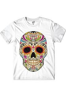 Camiseta Long Beach Caveira Floral Sublimada Masculina - Masculino