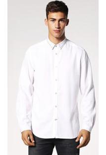 Camisa Diesel Manga Longa S-Jacqy Camicia Masculina - Masculino-Branco