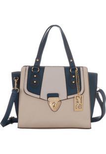 Bolsa Com Recortes & Bag Charm - Bege & Azul Marinhofellipe Krein