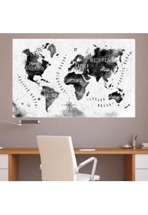 Adesivo De Parede Mapa Mundi Preto E Branco (1M X 0,60M)